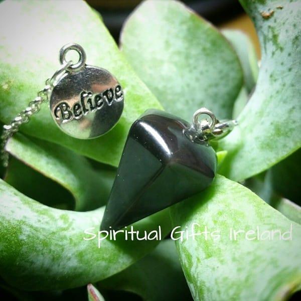 Believe Black Agate Dowsing Pendulum