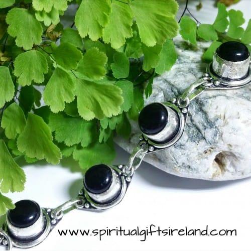 Black Onyx Dark Moon Gemstone Bracelet Sterling Silver