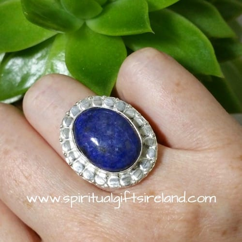 Lapis Lazuli Cabochon Handcrafted Sterling Silver Ring