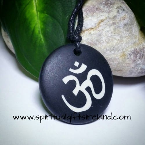 Om Black Wooden Necklace
