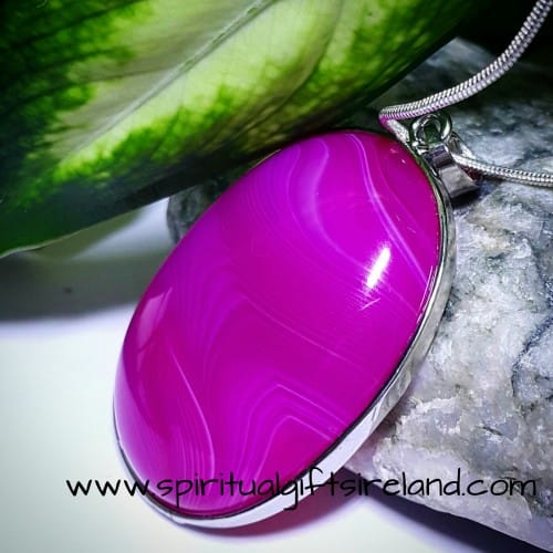 Pink Agate Crystal Pendant