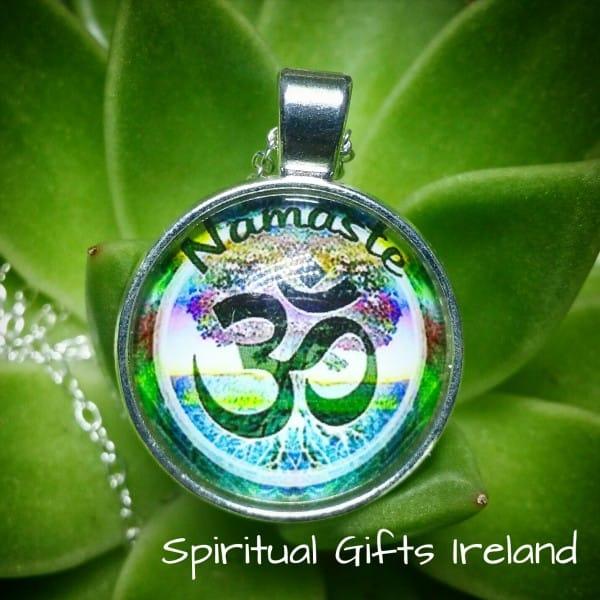 Namaste Om Yoga Silver Pendant Necklace