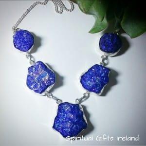 Iridescent Blue Druzy Quartz Necklace