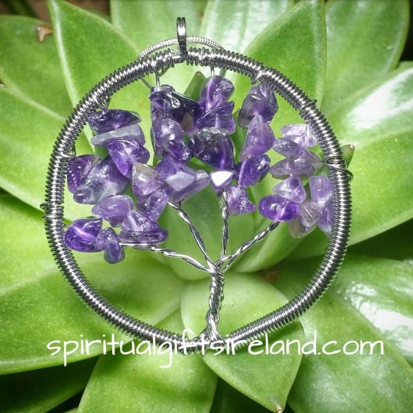 Amethyst Tree of Life Silver Pendant Necklace