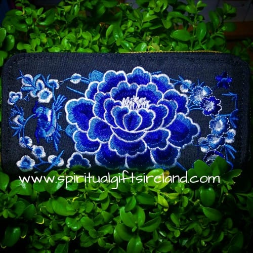 Blue Lotus Flower Embroidered Purse