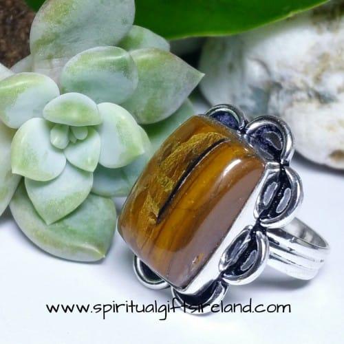 Tigers Eye Crystal Gemstone Sterling Silver Ring