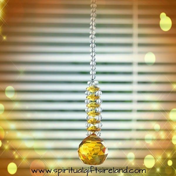 Yellow Sunshine Swarovski Hanging Crystal Suncatcher