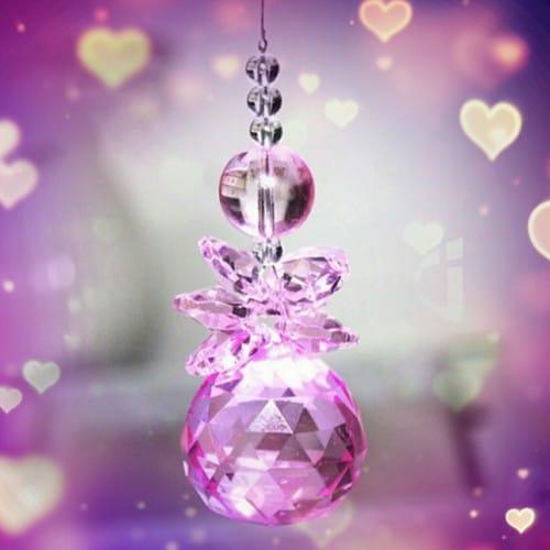 pink angel crystal suncatcher a