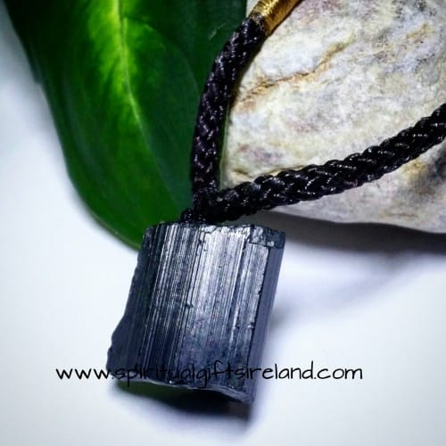 Black Tourmaline Raw Stone Necklace