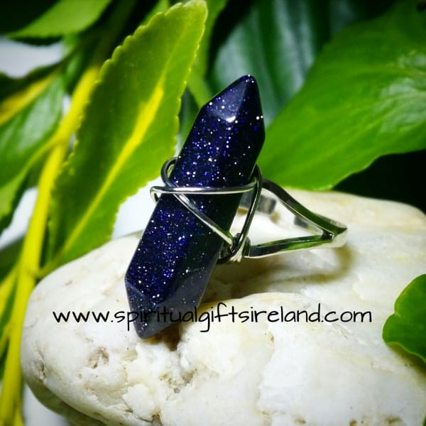 Goldstone Blue Wand Ring Adjustable