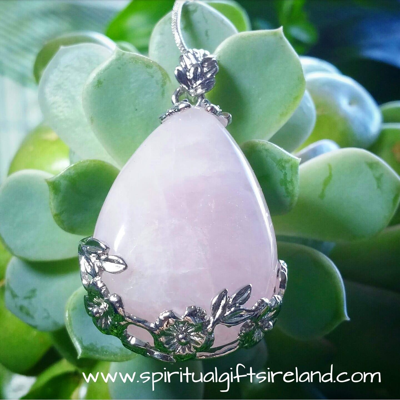 Rose Quartz Silver Flower Pendant