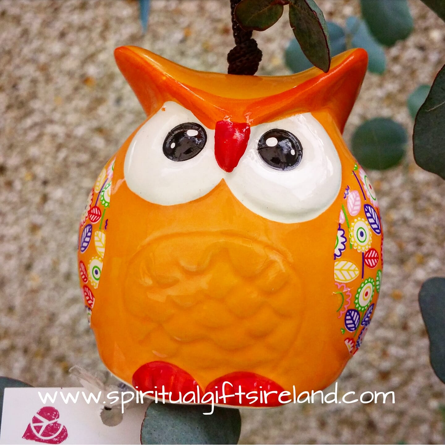 Hanging Ceramic Owl Windbell Indoor Outdoor