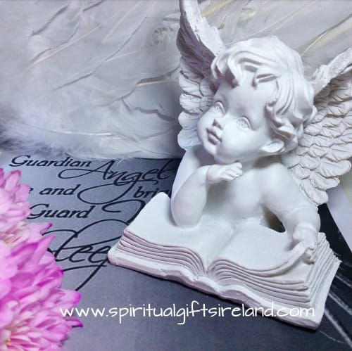 Angel Reading Statue White
