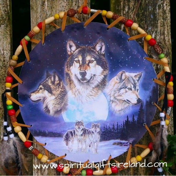 native american wolf dreamcatcher extra large 3 ring moon
