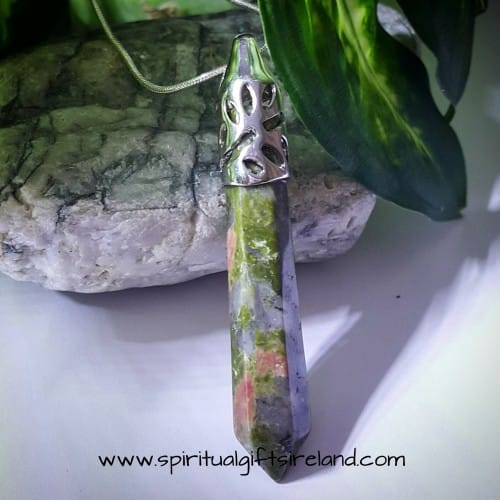 Unakite Crystal Wand Pendant