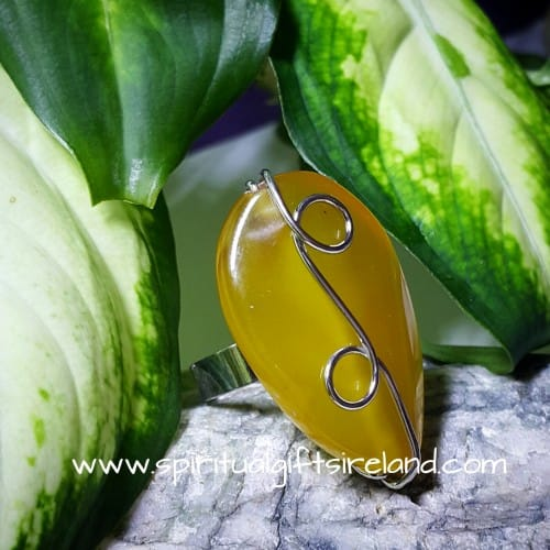 Yellow Agate Adjustable Ring