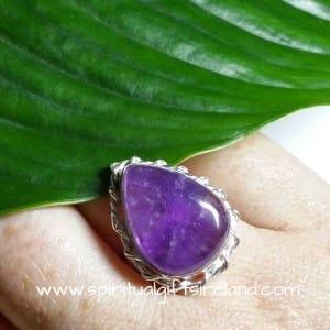 Amethyst Crystal Handmade Sterling Silver Ring