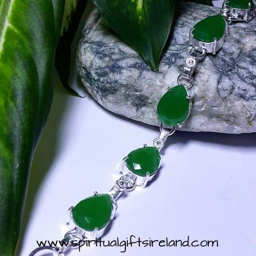 Green Onyx Bracelet Sterling Silver