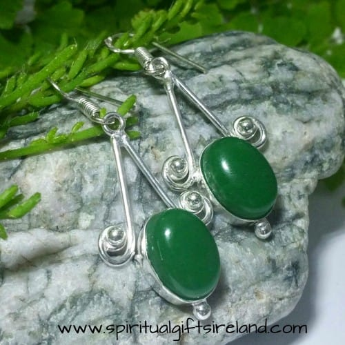 Green Onyx Handcrafted Sterling Silver Gemstone Earrings