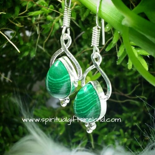 Malachite Earrings Sterling Silver