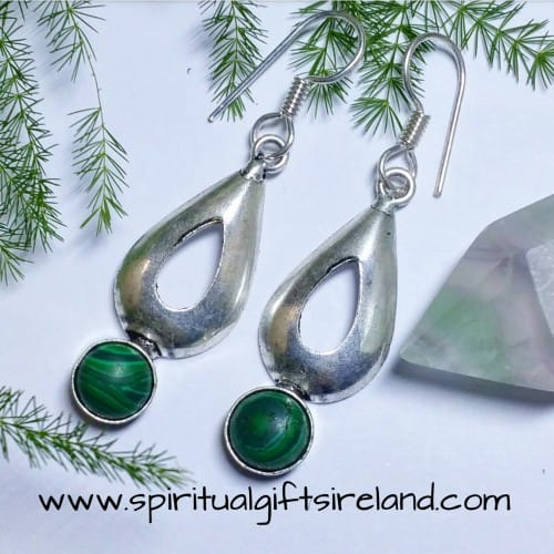 Malachite Waterdrop Gemstone Crystal Earrings Sterling Silver