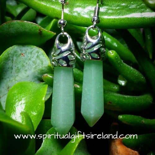 Green Aventurine Crystal Gemstone Earrings
