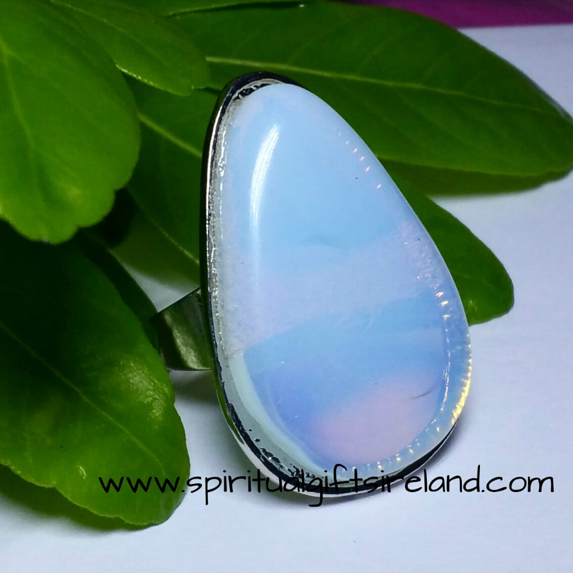 Opalite Moon Ring Adjustable
