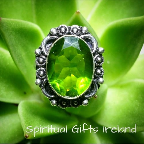 Handcrafted Peridot Ring Sterling Silver