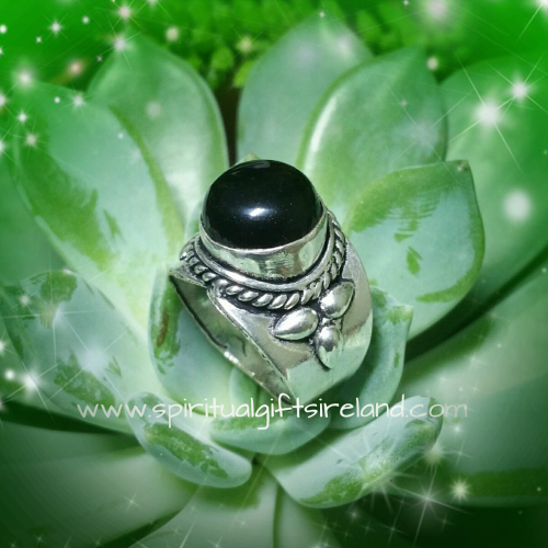 Black Onyx Totem Ring Handcrafted Sterling Silver