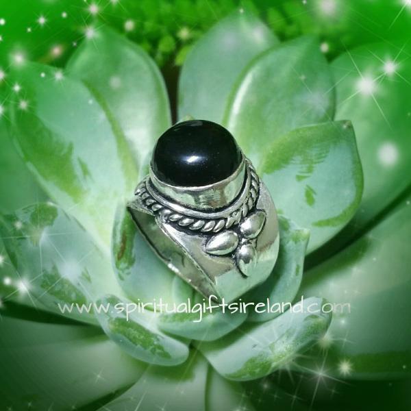 Black Onyx Totem Ring Sterling Silver