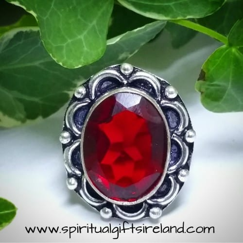 Red Garnet Handcrafted Ring Sterling Silver
