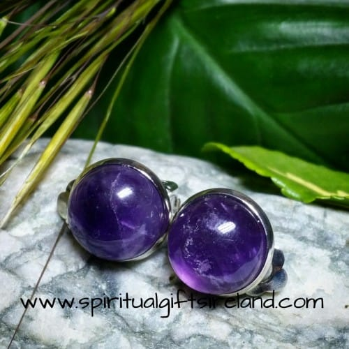 Amethyst Gemstone Crystal Clip On Earrings
