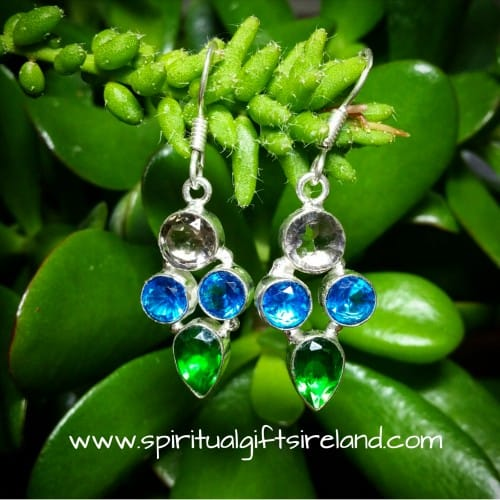 Smoky Quartz Blue Topaz Chrome Diopside Earrings