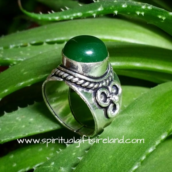 Green Onyx Ring Sterling Silver