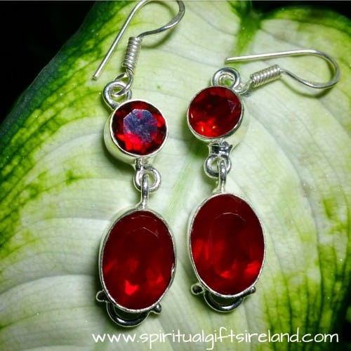 Red Garnet Handcrafted Earrings Sterling Silver