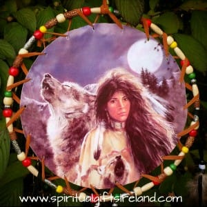 Native American Wolf Dreamcatcher Extra Large 3 Ring