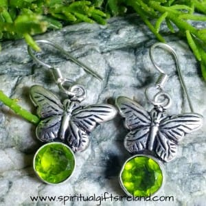 Peridot Butterfly Earrings Sterling Silver