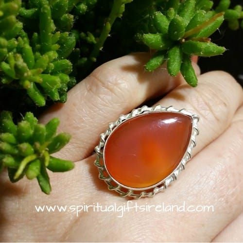 Carnelian Sterling Silver Handcrafted Sundrop Ring