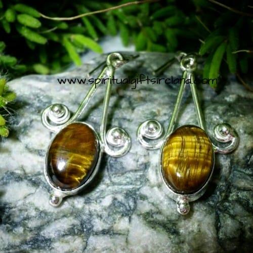 Tigers Eye Sterling Silver Earrings