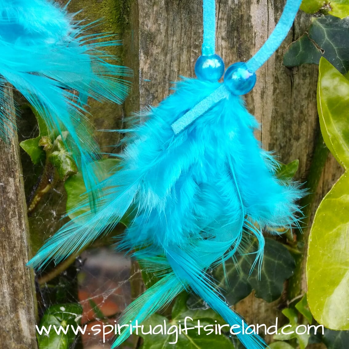 Turquoise Blue Fluffy Feather Dreamcatcher