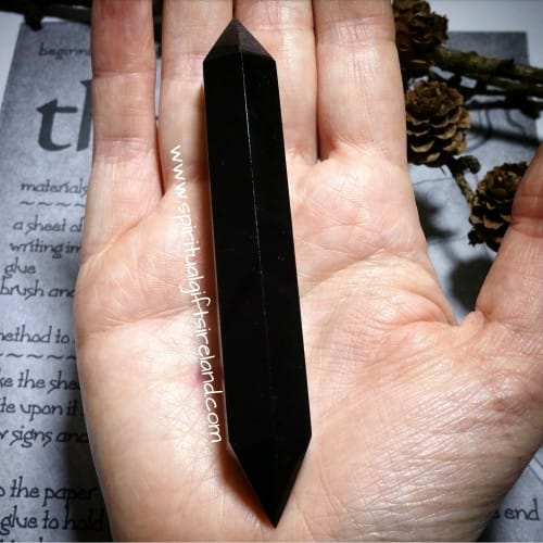 Black Obsidian Double Terminated Wand