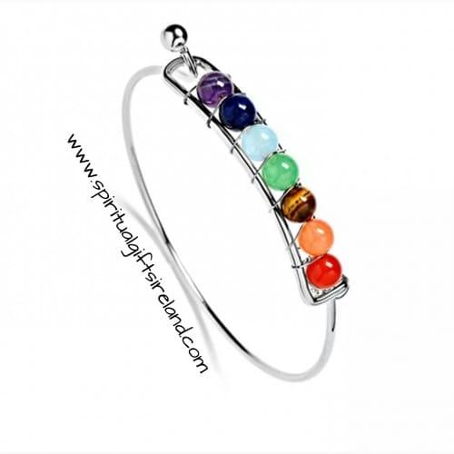 Chakra Healing Stone Bracelet Silver
