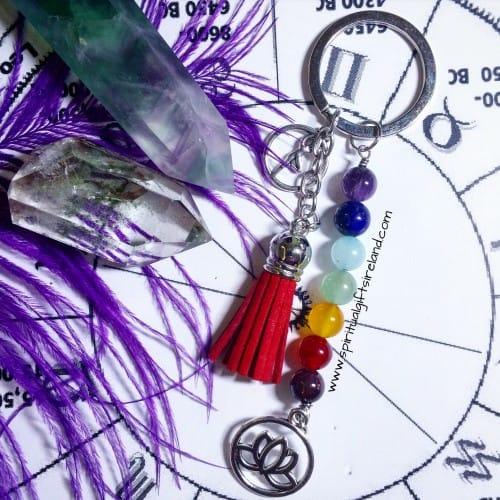 Chakra Healing Stones Lotus Yoga Keyring