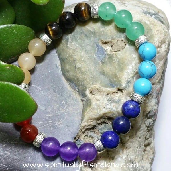 Chakra Triple Gemstone Crystal Bracelet