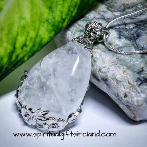 Clear Quartz Filagree Flower Necklace