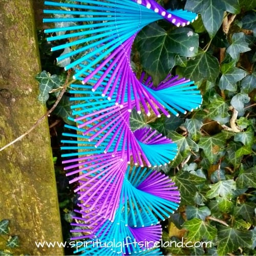 Hanging Bamboo Mobile Wind Spinner Purple