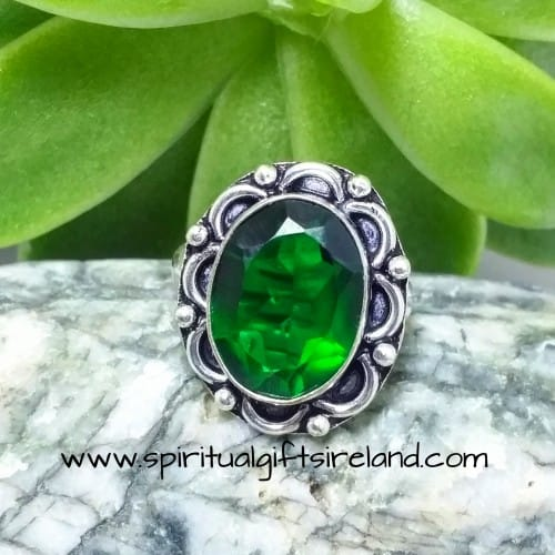 Chrome Diopside Natural Crystal Gemstone Silver Ring