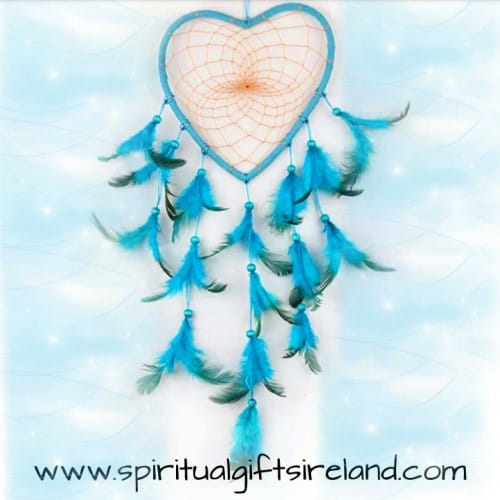 Fluffy Blue Heart Feather Dreamcatcher