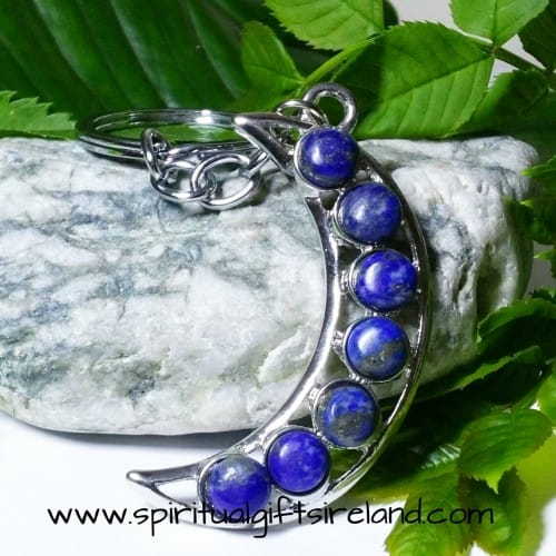 Lapis Lazuli Moon Crescent Crystal Gemstone Keychain