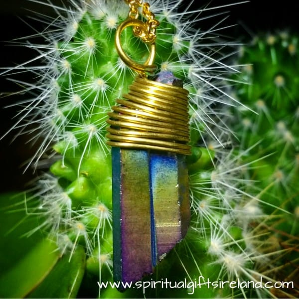 Aura Quartz Copper Wire Pendant